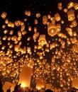 Sky lanterns at lantern Festival Royalty Free Stock Photo