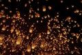 Sky lanterns, Loy Krathong and Yi Peng Festival. Chiang Mai, Thailand. Royalty Free Stock Photo