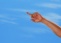 The sky is the limit a hand pointing up towards or heaven with number one finger Royalty Free Stock Photography