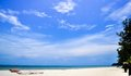 Summer blue sky sea coast sand background beach Royalty Free Stock Photo