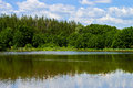 The sky over the lake village bazarny karabulak saratov region central pond Stock Image