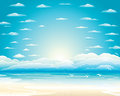 The sky over the sea gulls flying which we in midst of heaven batsymo crisp white glare of sun around which Royalty Free Stock Photography