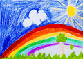 Sky and rainbow. Sun and trees. Child drawing Royalty Free Stock Photo