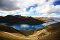 Sky road yamdrok lake in tibet with an elevation of nearly metres no is beside it there is a truck on the Royalty Free Stock Photo