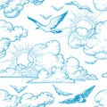Sky seamless pattern Royalty Free Stock Photo