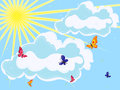 Sky with sun clouds and butterflies on foreground hand drawing vector illustration Royalty Free Stock Image