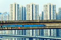 Sky train and track system in a modern neighborhood hong kong Royalty Free Stock Photography