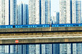 Sky train and track system in a modern neighborhood hong kong Royalty Free Stock Image