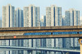 Sky train and track system in a modern neighborhood hong kong Stock Photos