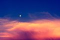 Sky in twilight time with moon Royalty Free Stock Image