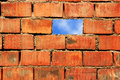 Sky and wall with brick freedom concept Stock Photography