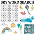 Sky word search game for kids