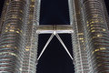 Skybridge of petronas twin towers at night in kuala lumpur malaysia can be visited by tourists every day Stock Photo