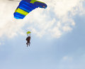 Skydiver flying against the sky Stock Images
