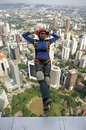 Skydiver jumping from KL tower Stock Image