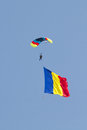 Skydiver with Romanian Flag Royalty Free Stock Photo