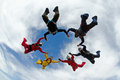 Skydiving formation Royalty Free Stock Photo