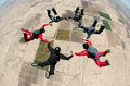 Skydiving people team work Royalty Free Stock Photo
