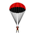 Skydiving school, academy illustration. Parachutist, extreme sport