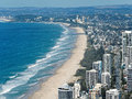 Skyline and beach of Surfers Paradise, Gold Coast. Royalty Free Stock Photo