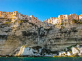 Skyline of bonifacio corsica france from the sea Royalty Free Stock Images