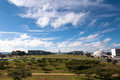 Skyline of brasilia view with national congress and ministry buildings far in the horizon Royalty Free Stock Photos
