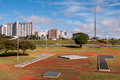 Skyline of brasilia view with tv tower in the horizon Royalty Free Stock Image