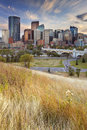 Skyline of Calgary, Alberta, Canada at sunset Royalty Free Stock Photo