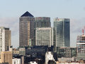 Skyline of Canary Wharf in London Stock Image