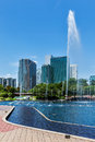 Skyline of central business district of kuala lumpur malaysia with fountain Stock Photos