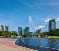 Skyline of central business district of kuala lumpur malaysia with fountain Stock Photography