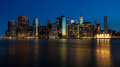 Skyline of the city of New York at night Royalty Free Stock Photo