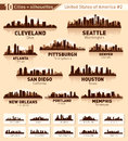 Skyline city set. 10 cities of USA #2 Stock Photos
