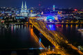 Skyline of Cologne at night Royalty Free Stock Photo