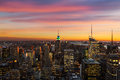 Skyline de new york durante o por do sol Foto de Stock Royalty Free