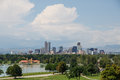 Skyline of denver beyond lake colorado a green park Stock Photo