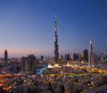 A skyline of Downtown Dubai with Burj Khalifa and Royalty Free Stock Photo