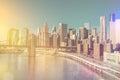 Skyline of downtown New York, Manhattan - vintage style Royalty Free Stock Photo