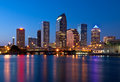 Skyline downtown tampa florida across channel to bay as dusk Royalty Free Stock Photos