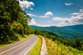 Skyline Drive and view of the Blue Ridge Mountains, in Shenandoah National Park, Virginia. Royalty Free Stock Photo
