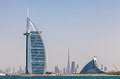 Skyline of dubai from the water Royalty Free Stock Photo