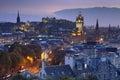 Skyline of Edinburgh, Scotland from Calton Hill at night Royalty Free Stock Photo
