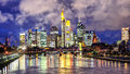 Skyline of Frankfurt on Main, Germany, in the evening Royalty Free Stock Photo