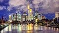 Skyline of Frankfurt on Main, Germany, in the evening Royalty Free Stock Photo