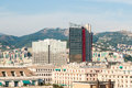 Skyline of Genoa with two modern skyscrapers Royalty Free Stock Photo