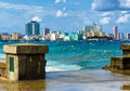 The skyline of Havana with a turbulent sea Stock Image