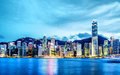 Skyline of hong kong night view victoria harbor Royalty Free Stock Image