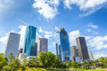 Skyline of houston texas in daytime under blue sky Stock Photo
