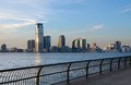 Skyline of jersey city view new usa with at evening time Royalty Free Stock Photo