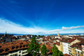 Skyline of lausanne losanna city switzerland Royalty Free Stock Image
